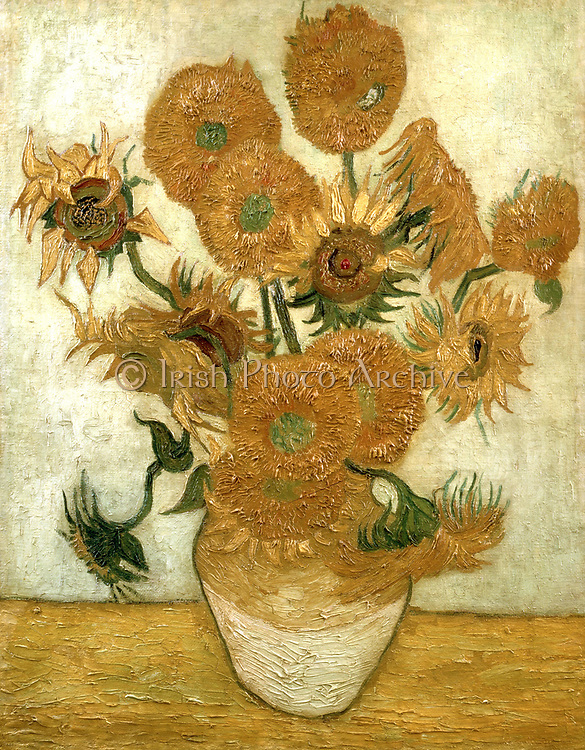 Sunflowers. Oil on canvas Vincent Van Gogh (1853-1890) Dutch Post-Impressionist artist.