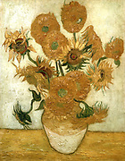 Sunflowers. Oil on canvas Vincent Van Gogh (1853-1890) Dutch Post-Impressionist artist.