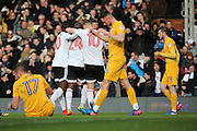 Fulham striker Sone Aluko (24) celebrating after scoring during the EFL Sky Bet Championship match between Fulham and Preston North End at Craven Cottage, London, England on 4 March 2017. Photo by Matthew Redman.