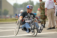 July 4th, 2006:  Anchorage, Alaska - Barry Flynn (405) of Vista, California, quickly enters turn one of the 5k Handcycle event at the 26th National Veterans Wheelchair Games.