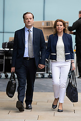 © Licensed to London News Pictures. 06/07/2020. London, UK. Charlie Elphicke arrives at Southwark Crown Court with his wife Natalie Elphicke. The former MP for Dover faces three charges of sexual assault against two women .  Photo credit: George Cracknell Wright/LNP