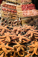 Starfish and other exotic snack items on offer at Wangfujing Nightly Food Market.