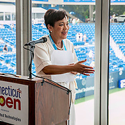 August 25, 2016, New Haven, Connecticut: <br /> New Haven Mayor Toni Harp attends the small business luncheon in the Lexus Lounge on Day 7 of the 2016 Connecticut Open at the Yale University Tennis Center on Thursday, August  25, 2016 in New Haven, Connecticut. <br /> (Photo by Billie Weiss/Connecticut Open)