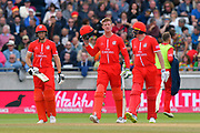 James Faulkner of Lancashire comes out to bat along with Jos Buttler of Lancashire who is his runner during the Vitality T20 Finals Day Semi Final 2018 match between Worcestershire Rapids and Lancashire Lightning at Edgbaston, Birmingham, United Kingdom on 15 September 2018.