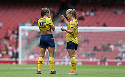 Katie McCabe of Arsenal discusses tactics with Leonie Maier of Arsenal during a break in play - Mandatory by-line: Arron Gent/JMP - 28/07/2019 - FOOTBALL - Emirates Stadium - London, England - Arsenal Women v Bayern Munich Women - Emirates Cup