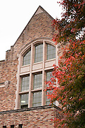 Brick north face of Hutchinson Hall on Stevens Way East. The building hosts the School of Drama, University of Washington, Seattle, Washington, USA. The 1926 building (architects Bebb & Gould) was named for long-time faculty member Mary Gross Hutchinson, who was chair of the Department of Physical Education for Women for eleven years.