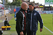 Walsall manager Jon Whitney and Bristol Rovers manager Darrell Clarke during the EFL Sky Bet League 1 match between Bristol Rovers and Walsall at the Memorial Stadium, Bristol, England on 9 September 2017. Photo by Gary Learmonth.