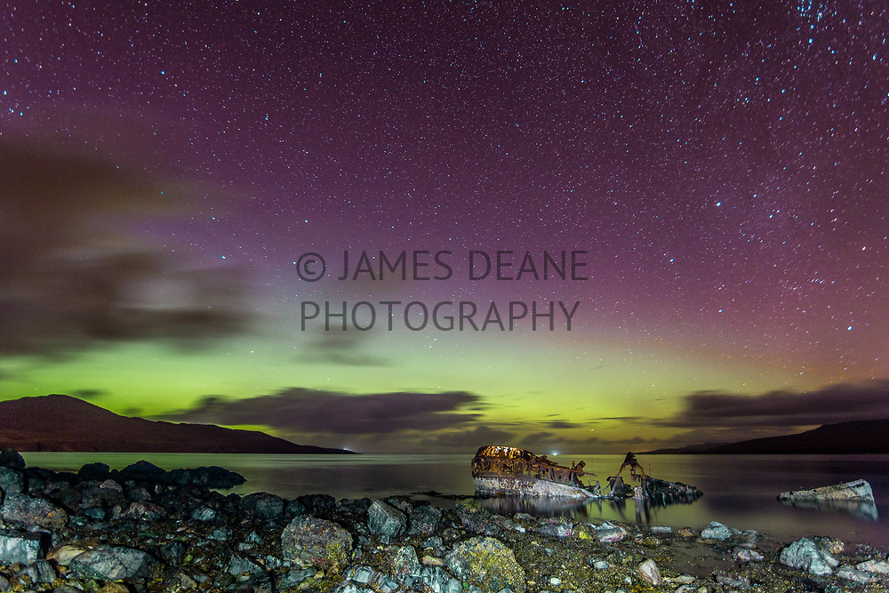 Aurora Borealis & The Wreck of Wyre Majestic. Near Bunnahabhain on The Isle of Islay