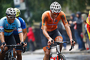 Men Road Race 230,4 km, Matiheu Van der Poel (Netherlands), Wout Van Aert (Belgium), during the Cycling European Championships Glasgow 2018, in Glasgow City Centre and metropolitan areas, Great Britain, Day 11, on August 12, 2018 - Photo Luca Bettini / BettiniPhoto / ProSportsImages / DPPI - Belgium out, Spain out, Italy out, Netherlands out -