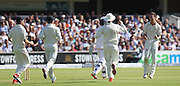 New Zealand Matt Henry takes the wicket of England Joe Root during the first day of the Investec 1st Test  match between England and New Zealand at Lord's Cricket Ground, St John's Wood, United Kingdom on 21 May 2015. Photo by Ellie  Hoad.