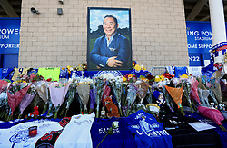 "Supporters pay tribute at Leicester City Football Club. Leicester Chairman, Vichai Srivaddhanaprabha, was among those to have tragically lost their lives on Saturday evening when a helicopter carrying him and four other people crashed outside King Power Stadium. PRESS ASSOCIATION Photo. Picture date: Monday October 29, 2018. Broken-hearted Leicester have paid tribute to ""a great man"" following the death of billionaire owner Vichai Srivaddhanaprabha in a helicopter crash close to the King Power Stadium. See PA story SOCCER Leicester Stadium. Photo credit should read: Mike Egerton/PA Wire"