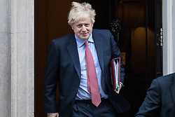 London, UK. 29 January, 2020. Prime Minister Boris Johnson leaves 10 Downing Street to attend Prime Minister's Questions in the House of Commons on the day on which MEPs will formally approve the EU Withdrawal Agreement.