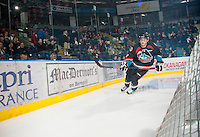 KELOWNA, CANADA - OCTOBER 18:  Henrik Nyberg #21 of the Kelowna Rockets skates behind the net on the ice as the Prince George Cougars visit the Kelowna Rockets on October 18, 2012 at Prospera Place in Kelowna, British Columbia, Canada (Photo by Marissa Baecker/Shoot the Breeze) *** Local Caption ***