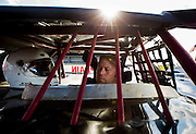 Mark Penticuff sits in his Late-Model Camaro prior to NWTF race night at Lucas Oil Speedway on August 3, 2013 in Wheatland, Missouri. (David Welker)