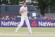 Chadd Sayers bowling during the Specsavers County Champ Div 2 match between Gloucestershire County Cricket Club and Leicestershire County Cricket Club at the Cheltenham College Ground, Cheltenham, United Kingdom on 17 July 2019.