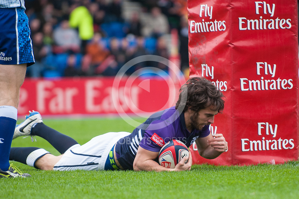 Scotland's Colin Gregor scores a try during the pool match against Australia. Action from the IRB Emirates Airline Glasgow 7s at Scotstoun in Glasgow. 3 May 2014. (c) Paul J Roberts / Sportpix.org.uk