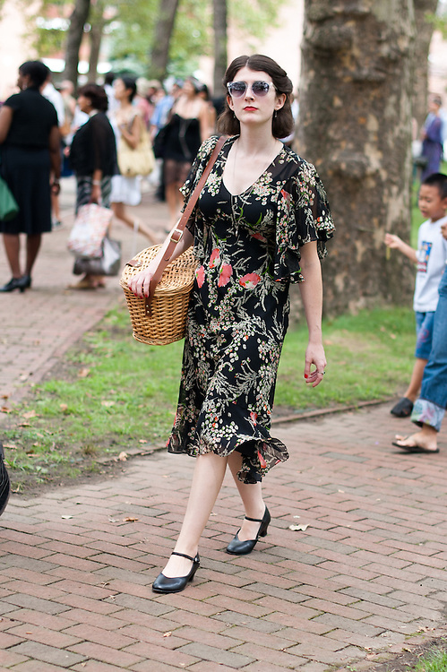 Black Floral Dress and Picnic Basket, Jazz Age Lawn Party