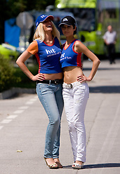 Models before start of the 4th stage of Tour de Slovenie 2009 from Sentjernej to Novo mesto, 153 km, on June 21 2009, Slovenia. (Photo by Vid Ponikvar / Sportida)