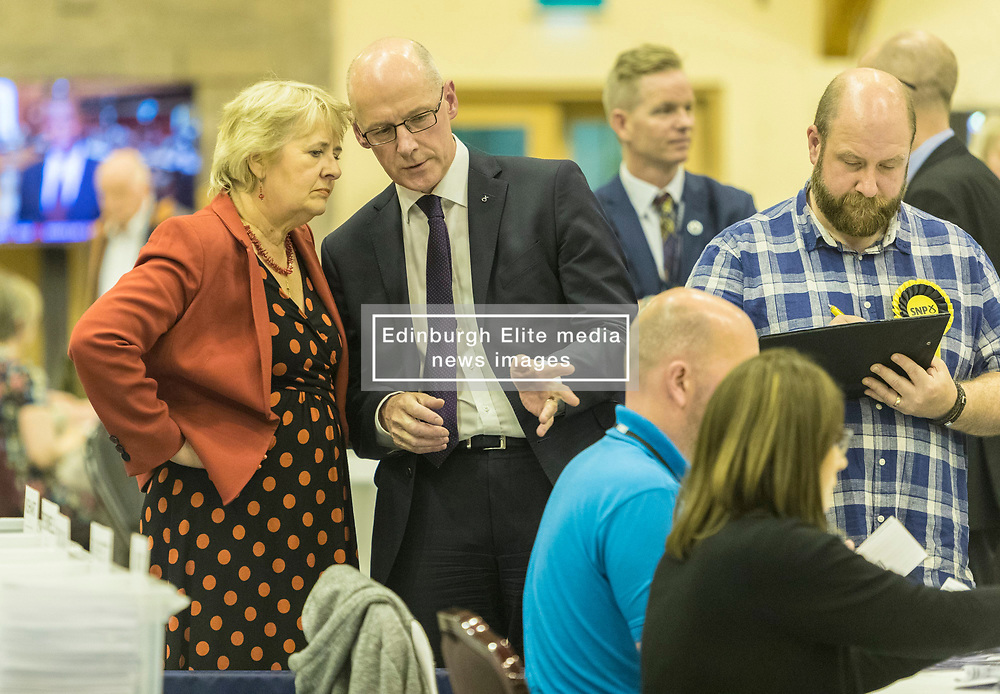 The count for the UK Parliamentary General Election 2017 for the Perth & North Perthshire Constituency takes place at Bell's Sports Centre in Perth.<br /> <br /> The four candidates standing for the seat are Peter Barrett (Scottish Liberal Democrats), Ian Duncan (Scottish Conservatives), David Roemmele (Scottish Labour) and Pete Wishart (SNP)<br /> <br /> Pictured: Roseanna Cunningham MSP & John Swinney MSP watching the count at Perth & North Perthshire