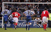 Photo: Paul Thomas.<br /> Chester City v Nottingham Forest. The FA Cup.<br /> 03/12/2005.<br /> <br /> Chester's Ryan Lowe sends Forest keeper Paul Gerrard the wrong way to score.