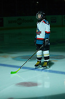 KELOWNA, BC - JANUARY 3:  The Pepsi Player of the game stands on the blue line at the Kelowna Rockets against the Victoria Royals at Prospera Place on January 3, 2020 in Kelowna, Canada. (Photo by Marissa Baecker/Shoot the Breeze)