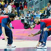 06 August 2012:  USA Deron Williams and Tyson Chandler are seen during the players introduction prior to the 126-97 Team USA victory over Team Argentina, during the men's basketball preliminary, at the Basketball Arena, in London, Great Britain.