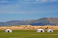 Mongolie, province de Ovorkhangai, campement nomade dans le parc de Batkhan // Mongolia, Ovorkhangai province, nomad camp at Batkhan national parc