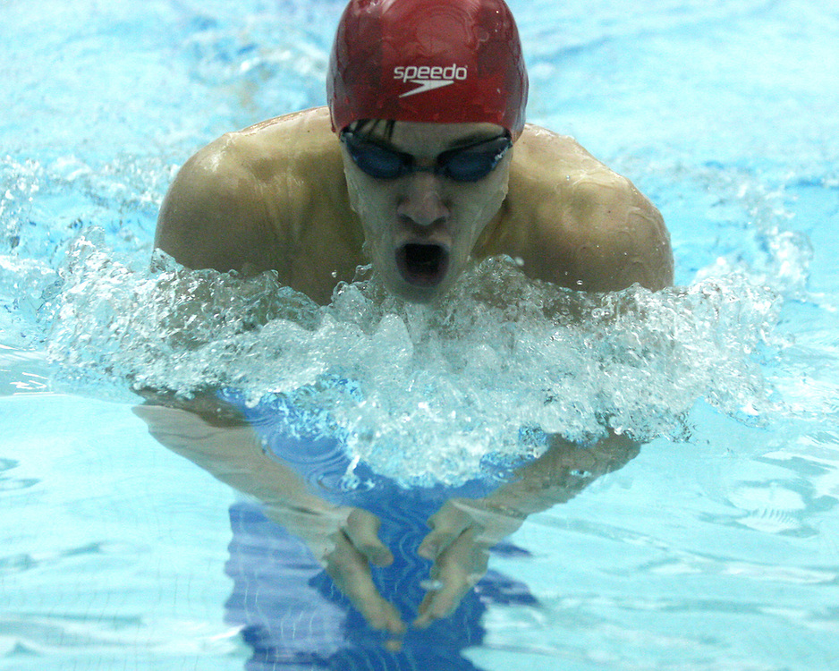 jamestown's Matt Marsh during the breaststroke leg of 200 IM 12-1-15 photo by Mark L. Anderson