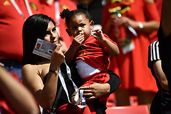 June 23, 2018 - Moscow, RUSSIA - Belgium's Michy Batshuayi 's wife and daughter pictured before the start of the second game of Belgian national soccer team the Red Devils against Tunisia national team in the Spartak stadium, in Moscow, Russia, Saturday 23 June 2018. Belgium won its first group phase game. BELGA PHOTO DIRK WAEM (Credit Image: © Dirk Waem/Belga via ZUMA Press)