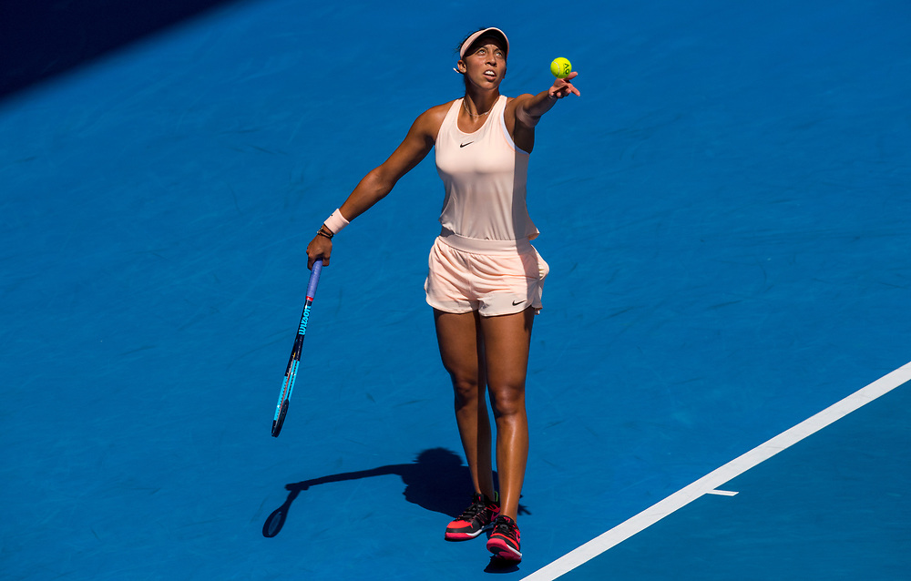 Madison Keys of the United States on day ten of the 2018 Australian Open in Melbourne Australia on Wednesday January 24, 2018.<br /> (Ben Solomon/Tennis Australia)