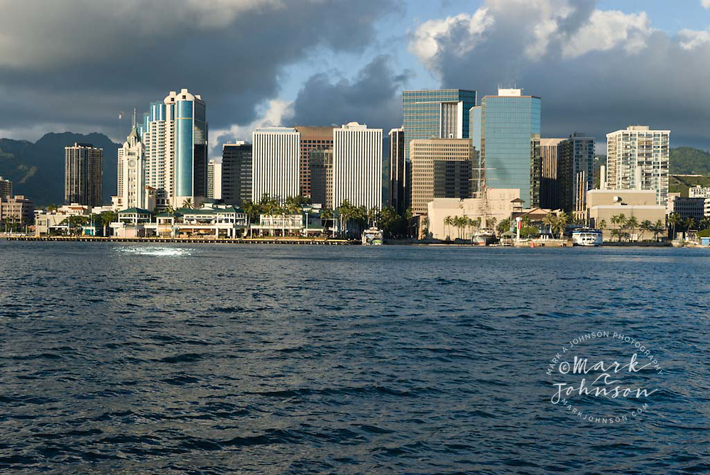 Downtown Honolulu from Sand Island, Oahu, Hawaii