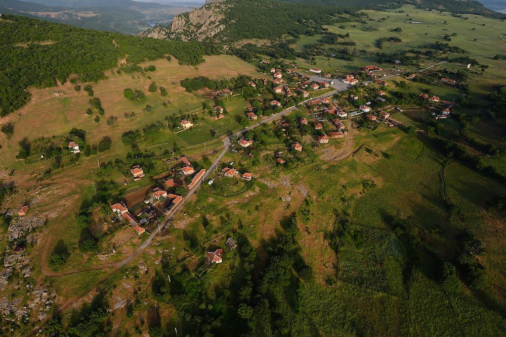 Flight shots over the Arda river canyon, Dolni Glavanak village, Madzharovo, Eastern Rhodope mountains, Bulgaria