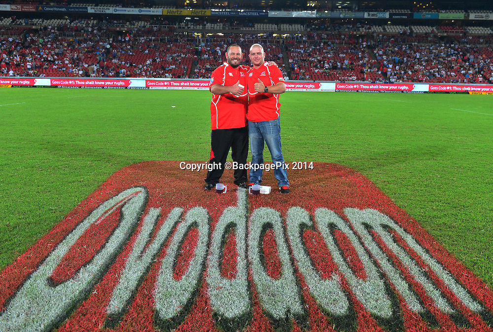 Vodacom Branding - half time activation during the Super rugby match between the Lions and the Stormers at Ellis Park, Johannesburg on 22 February 2014 ©Gavin Barker/BackpagePix