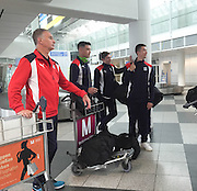 Goalkeeping coach Bobby Geddes and players  Darren O&rsquo;Dea, Craig Wighton and Cammy Kerr en-route to Dundee FC pre-season training camp in Obertraun, Austria<br /> <br />  - &copy; David Young - www.davidyoungphoto.co.uk - email: davidyoungphoto@gmail.com