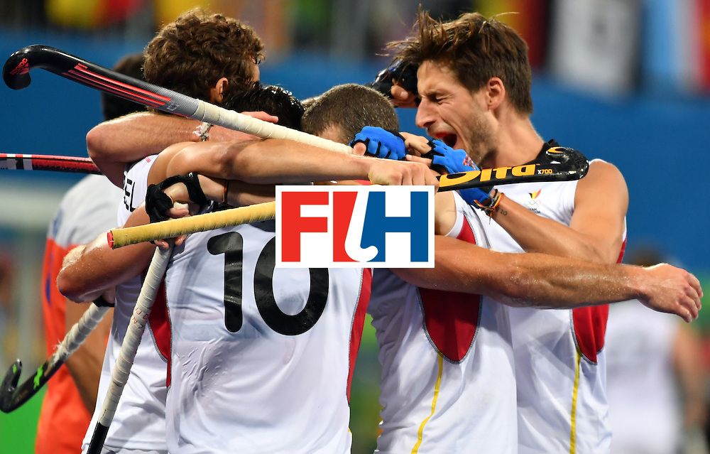 Belgium's players celebrate a goal during the men's semifinal field hockey Belgium vs Netherlands match of the Rio 2016 Olympics Games at the Olympic Hockey Centre in Rio de Janeiro on August 16, 2016.  / AFP / Pascal GUYOT        (Photo credit should read PASCAL GUYOT/AFP/Getty Images)