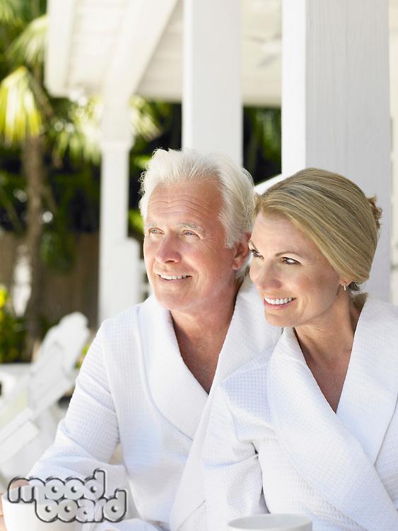 Couple sitting on verandah portrait