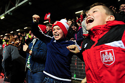 Bristol City fans celebrate after beating Manchester United in the Carabao cup 2-1 - Mandatory by-line: Dougie Allward/JMP - 20/12/2017 - FOOTBALL - Ashton Gate Stadium - Bristol, England - Bristol City v Manchester United - Carabao Cup Quarter Final