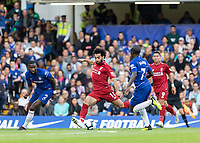 Football - 2018 / 2019 Premier League - Chelsea vs. Liverpool<br /> <br /> Mohamed Salah (Liverpool FC) tries his luck from the edge of the penalty area at Stamford Bridge <br /> <br /> COLORSPORT/DANIEL BEARHAM