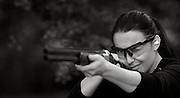Maria Chiorando has shooting lessons at West Kent Shooting School, Brenchley, Kent, 15th May 2014.