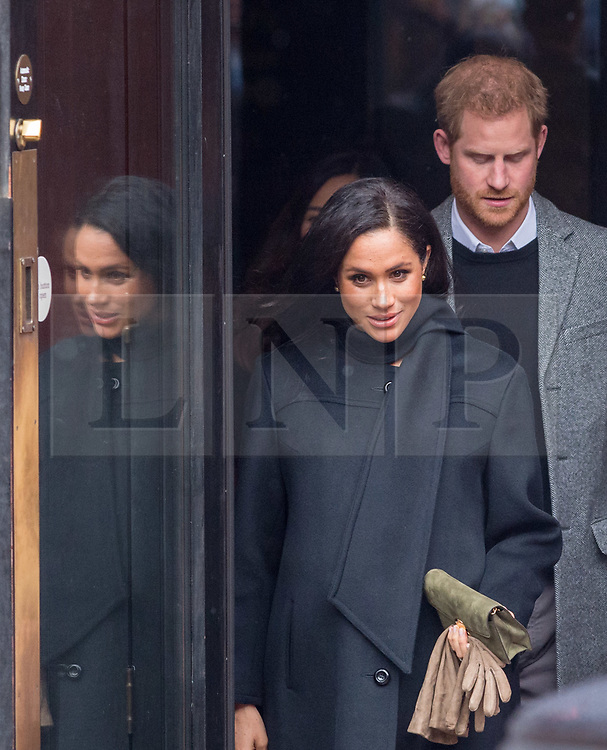 © Licensed to London News Pictures. 01/02/2019. Bristol, UK. The Duke and Duchess of Sussex, HARRY and MEGHAN visit The Old Vic Theatre in King Street with snow falling. The Old Vic Theatre was the first stop on a tour of Bristol today. Built in 1766 as a place where the people of Bristol could come together, Bristol Old Vic is the oldest continuously working theatre in the English speaking world. The Duke and Duchess are to tour the recently renovated facility, finding out more about the theatre's unique history and links to the local community. Their Royal Highnesses will also drop in on a workshop attended by local school children which is part of Bristol Old Vic's outreach programme. The final visit of the day will be to Empire Fighting Chance, which aims to fight the impact of deprivation on young people's lives through boxing. The charity supports children aged 8 to 21 who are failing at school and in danger of drifting into a life of unemployment or even crime, and helps them turn their lives around. Empire Fighting Chance works with around 250-300 children per week and runs programmes which help instil discipline, self control, and respect, whilst building self-confidence, life skills, and improving both physical and mental health and fitness. During their visit Their Royal Highnesses will have the opportunity to meet with young people using the boxing gym, speak to coaches about the positive impact Empire Fighting Chance is having on young people in Bristol and watch a couple of training sessions attended by primary and secondary school pupils. Photo credit: Simon Chapman/LNP