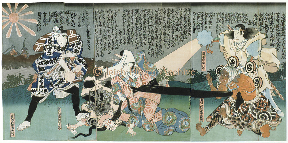 Kabuki theatre scene.  Kabuki, a highly stylised Japanese dance-drama. Utagawa Kunisada (1786-1864) Japanese artist and printmaker. Coloured woodblock print.