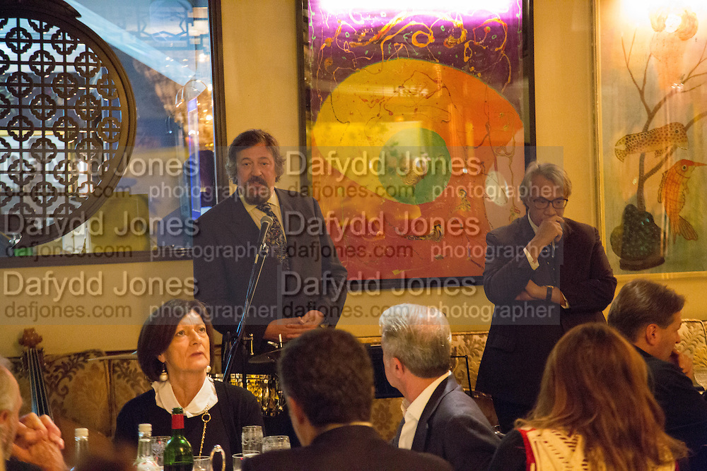 STEPHEN FRY; SIR DAVID TANG, Dinner in aid of the China Tiger Revival hosted by Sir David Tang and Stephen Fry  at China Tang, Park Lane, London. 1 October 2013. ,