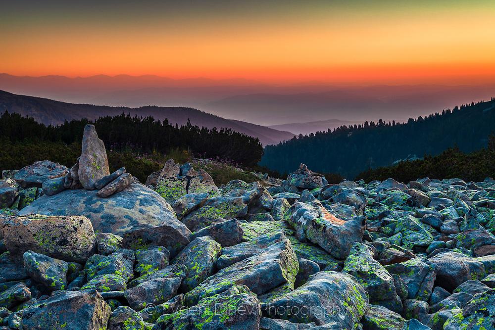 Mountain scree slope at dawn