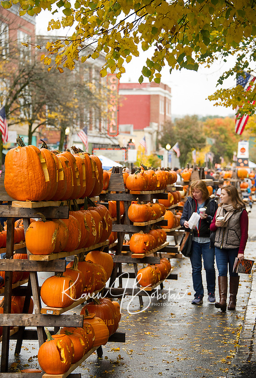 Pumpkins lined Main Street in downtown Laconia for Pumpkin Fest on Saturday.  (Karen Bobotas/for the Laconia Daily Sun)