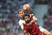 Mohamed Salah of Liverpool against Jan Vertonghen of  Tottenham Hotspur during the Champions League Final match between Tottenham Hotspur and Liverpool at Tottenham Hotspur Stadium, London, United Kingdom on 1 June 2019.