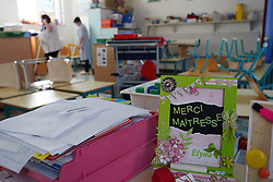 Municipal employees in charge of cleaning disinfect the nursery school premises in preparation for the return of children after the confinement period on May 7, 2020 in Lille suburb, France. Photo by Sylvain Lefevre/ABACAPRESS.COM