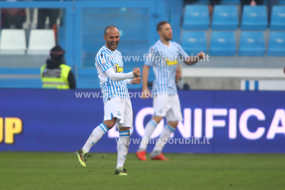 "Foto Filippo Rubin<br /> 01/12/2018 Ferrara (Italia)<br /> Sport Calcio<br /> Spal - Empoli - Campionato di calcio Serie A 2018/2019 - Stadio ""Paolo Mazza""<br /> Nella foto: ESULTANZA GOAL SPAL JASMIN KURTIC (SPAL)<br /> <br /> Photo Filippo Rubin<br /> December 01, 2018 Ferrara (Italy)<br /> Sport Soccer<br /> Spal vs Empoli - Italian Football Championship League A 2018/2019 - ""Paolo Mazza"" Stadium <br /> In the pic: CELEBRATION GOAL SPAL JASMIN KURTIC (SPAL)"