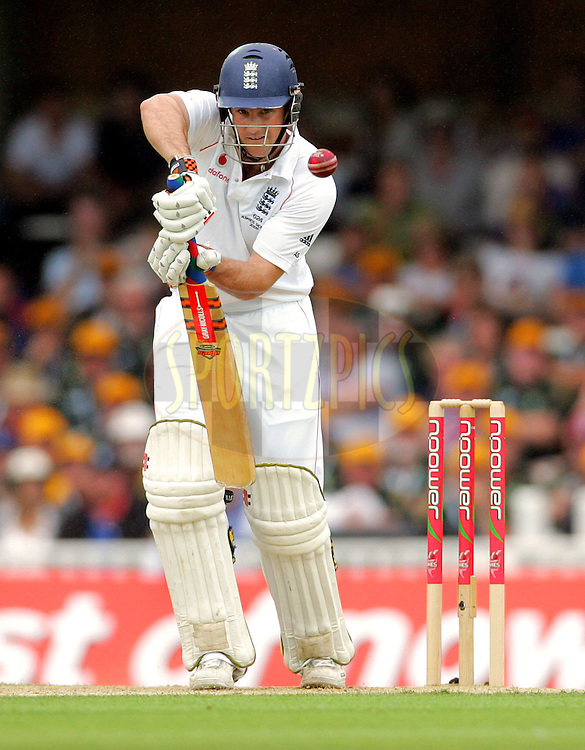 © SPORTZPICS /  Seconds Left Images 2009 - Andrew Strauss concentrates as he follows his own shot in the first session of the 5th test -  England v Australia - The Ashes 2009 - 5th npower Test  Match - Day 1 - 20/08/09 - The Brit Oval - London -  UK - All Rights Reserved