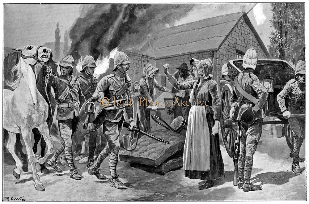 Burning the Farm of a Treacherous Burgher. After painting by R. Caton Woodville. Boer farmer's wife shakes her fist at the British soldiers. 2nd Boer War 1899-1902.