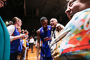 14/10/2016 Terrance Ferguson shares a laugh with legendary Australian basketball coach Ken Cole after he made his debut in front of the Adelaide 36ers home crowd as the Adelaide 36ers vs Melbourne United at the Titanium Security Arena.